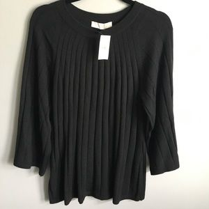 Ribbed black bell sleeve sweater